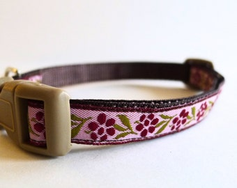 Pink and Purple Floral Dog Collar - Small