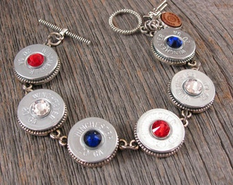 Bullet Jewelry - July 4th - 2nd Amendment - Silver 20 Gauge Shotgun Casing Patriotic - Red, White & Blue Themed Crystal Bracelet