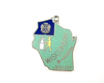 Silver Plate Charm Wisconsin State with Enameling
