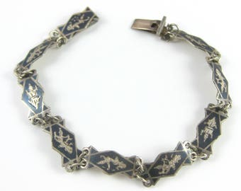 Vintage Sterling Silver Mekkalah Black Niello Goddess of Lightening Bracelet Hindu Mythology