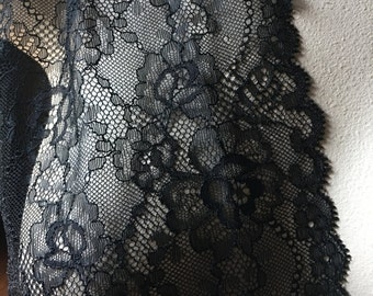 SALE Black Chantilly Lace for Bridal, Lingerie, Costumes, Garments CH 430