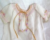 Vintage Peasant Dress for Girls Embroidered/ Smocked Cotton Organdy Sheer Hungarian Dress