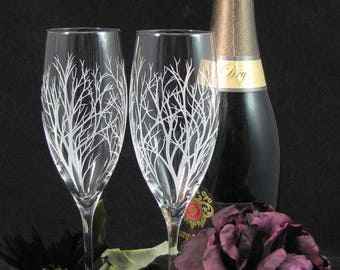 NEW 2 Winter Tree Branches Champagne Flutes,  Engraved Fine Crystal Gift for Bride & Groom, Personalized Wedding Present for Couple