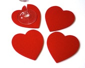 Felt Heart Valentines Day Romantic Dinner Gift for her Coasters 5MM Thick Virgin Merino Wool Drink Coaster  Set