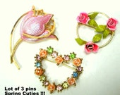 Lot of 3 FLOWER Pins, All are Goldtone, Pastel Spring Easter Floral Brooches, 1960s to 1980s Gift Worthy