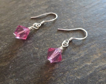 Pink Swarovski Crystal Dangle Everyday Dainty Modern Stylish Bridesmaids Spouse Lover Wife Mother Daughter Sister Grandmother Earrings