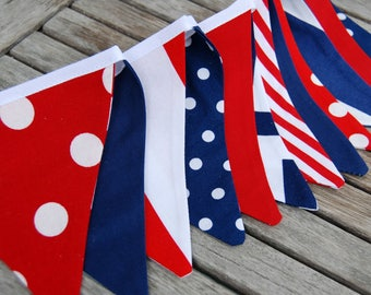 July 4 BBQ MINI Red, Navy Bunting Banner Decoration, Summer Pool Party, Photo Prop -- Nautical Baby Shower Decor -- Cloth, Fabric Flags