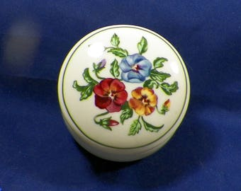 Vintage Partylite Trinket, Keepsake, Dresser Box-Pansey/Floral Decor-Excellent Condition