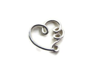 Limited Edition Nickel Free Silver Daith Heart Ring Earring with Squiggly Loops Sensitive Ear, 18G or 20G, One ( 1 ) Single Heart Earring