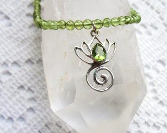 Lotus jewelry     Lotus necklace   Peridot Lotus Necklace