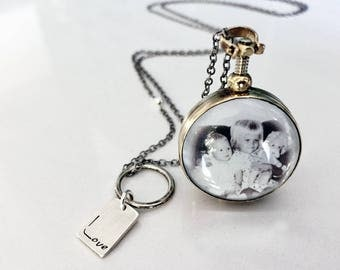 Photo Locket Necklace in Antiqued Brass with Silver Chain - Custom with Photo