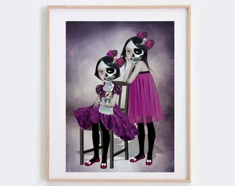 Goth Girl Art Print - Goth Girl Twins Print - Day Of The Dead - Goth Girl Art - Wall Art - The Outsiders