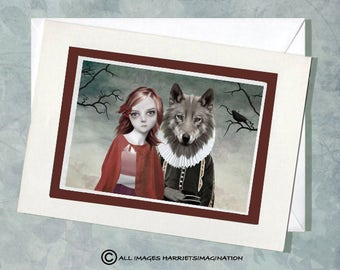 Red Riding Hood Card - Fairytale Greeting Card - Girl & Wolf - Fantasy Art Card - A5 Greeting Card - Handmade Card - Fairytale keepsake Card