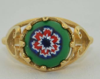 Vintage 14K & Murano Glass Ring SZ 5 1/4US