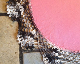 Pink Doily with Chrocheted Edge