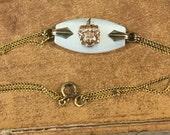 Antique Mother of Pearl MOP Fine Gold Tone Chain Bracelet Shield Emblem Latin Words