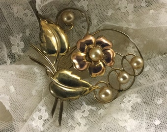 Signed Harry Iskin 1/20 10K Gold Filled Floral Brooch Pin Bi Color with Faux Pearls