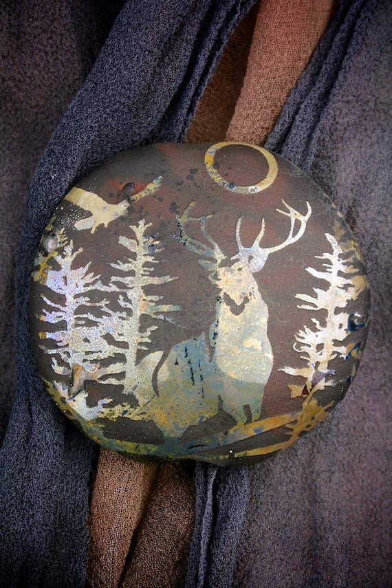 """SRA Lampwork Beads """"Midnight Stag"""" Handmade Glass Focal Lentil ~ Fine Silver Lustre ~ Pine Trees and Stag Bead"""