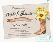 Cowboy Boot Sunflower Rustic Bridal Shower Invitation, Country, Boho Chic, Printable or Printed