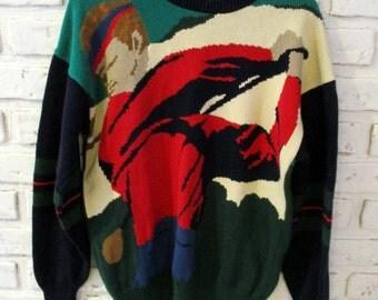 Vintage Hathaway Golf Sweater Cotton Colorful Novelty Sweater Men's Medium Golfer Golfing Clothing Sportswear