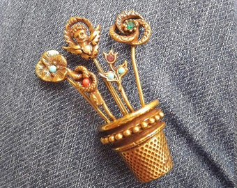 early 1980s planter brooch growing little jewels - charity for cats and kittens