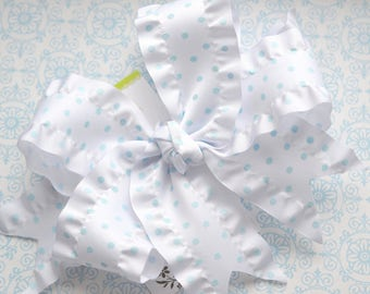 White with Blue Swiss Dot Double Ruffle XL Diva Bow