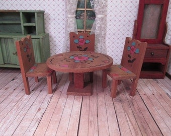 """Vintage Dollhouse Furniture - Peasant Style Wooden Kitchen Table and Three Chairs - 1"""" Scale"""