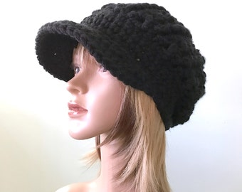 Boho Slouchy Brimster in Basic Black - Chunky Warm Thick Hat - Ballcap style - women girl teen READY to SHIP
