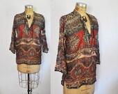 1980s Cotton Gauze Shirt / Tunic Top / ethnic blouse / S-L