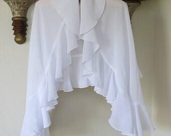 Ruffled Jacket Shawl White Polyester Vintage 1990s Long Sleeved Boleo Style Small