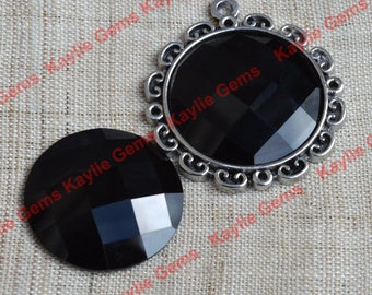 New - Mirror Glass Cabochon cab 25mm Round Checker Cut Faceted Dome -Jet Black - 2pcs
