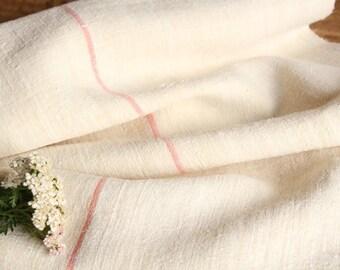 P 490 antique hemp linen roll PEACH  리넨 grainsack fabric 6.55yards wedding decor lin 19.69wide