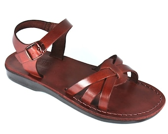 New - Brown Gaia Leather Sandals For Men & Women - Handmade Sandals, Leather Flats, Leather Flip Flops, Unisex Sandals, Brown Sandals