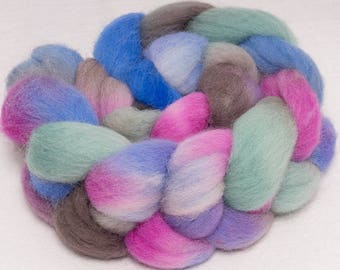 SALE fibre,  Hand dyed Kent Romney Tops, British breed wool, hand painted tops, wool tops, Romney roving, fibre, fiber, 100g, Quiet Day