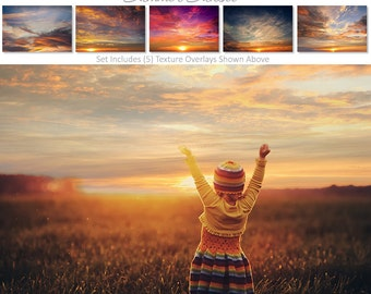 Photoshop Overlays | Texture Overlays - SUMMER SUNSET SKIES - Expertly Designed | Digital Overlays | Photography Backdrops.