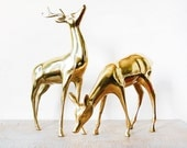 RESERVED vintage brass deer figurines, large brass deers