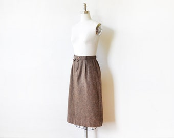 70s flecked wool skirt, vintage brown wool midi skirt, 1970s skirt, small