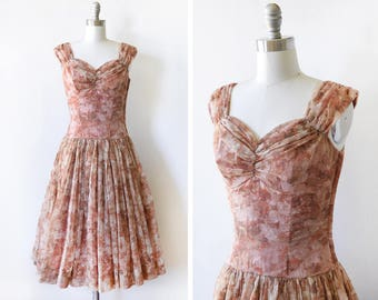 50s floral dress, vintage 1950s chiffon dress, brown floral garden party dress, extra small xs