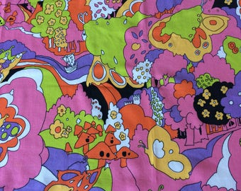 Vintage Mod Peter Max Era Curtain Panel Groovy Psychedelic Hippie Surreal Art Material 60's 70's