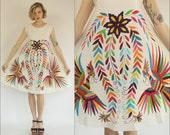 Mexican Tenago Otomi Floral Birds Embroidered Tent Hippie Boho Cotton Multicolored Ethnic Mini dress XS S