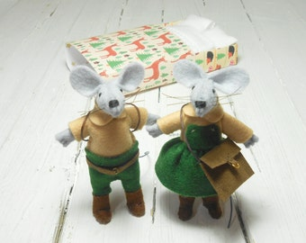 Woodland animals couple hand made dolls felt mice in matchbox bed green caramel stuffed animals miniature mouse felt set kids gift