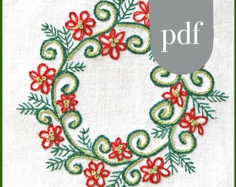 Christmas Crewel Embroidery Kit  DIY Pattern pdf Christmas Wreath  in Red and Green digital download tutorial