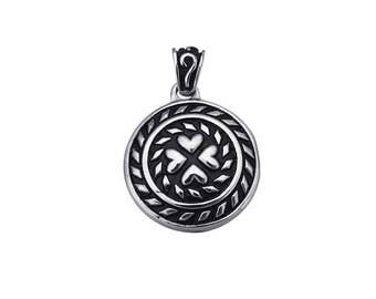 1 Round ethnic hearts pendant stainless steel 30mm black and silver