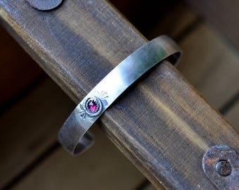 xX RESERVED Xx Sterling Silver Garnet Cuff, Metalwork Bangle, Oxidised Bracelet, Hand Stamped Sinclastic Cuff