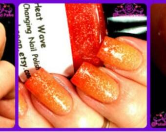 Color Changing Nail Polish - Mood Nail Polish-Heat Wave-Orange to Yellow-Hand Blended Polish - 0.5 oz Full Sized Bottle
