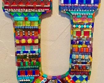 "Mosaic ""bling"" letter U."