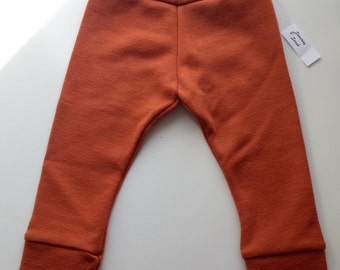 Orange Interlock Longies - Wool Pants Diaper Cover.  Medium