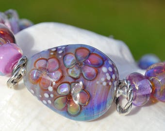 BOUQUET-Handmade Lampwork and Sterling Silver Bracelet