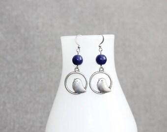 boucles d'oreilles argent/marine, Blue/Silver earring, navy blue, bird, oiseau, classique, pendante, pendentif, naturel, animaux, animal