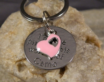 I'm The Pink in HIs World of Camo Handstamped Keychain